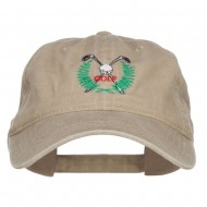 Golf Club Ball Crest Embroidered Washed Cap - Khaki