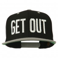 Get Out Embroidered Snapback Cap - Black Silver