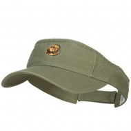 Golden Retriever Head Embroidered Pro Style Cotton Washed Visor - Olive