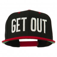 Get Out Embroidered Snapback Cap - Black Red