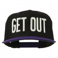 Get Out Embroidered Snapback Cap - Black Purple