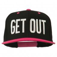 Get Out Embroidered Snapback Cap - Black Pink