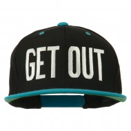 Get Out Embroidered Snapback Cap - Black Teal