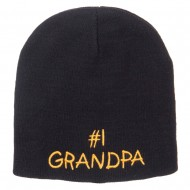 Number 1 Grandpa Embroidered Short Beanie - Black