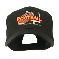Football Field Goal Post and Ball Embroidered Cap - Black