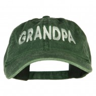 Wording of Grandpa Embroidered Washed Cap - Dark Green