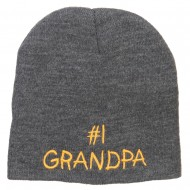 Number 1 Grandpa Embroidered Short Beanie - Grey