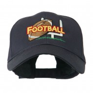 Football Field Goal Post and Ball Embroidered Cap - Navy