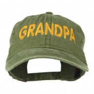 Wording of Grandpa Embroidered Washed Cap - Olive Green