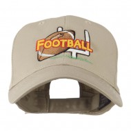 Football Field Goal Post and Ball Embroidered Cap - Khaki