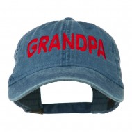 Wording of Grandpa Embroidered Washed Cap - Navy