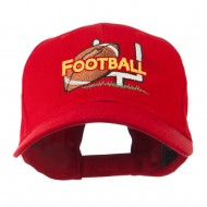 Football Field Goal Post and Ball Embroidered Cap - Red