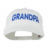 Wording of Grandpa Embroidered Washed Cap - White