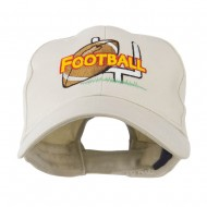 Football Field Goal Post and Ball Embroidered Cap - Stone