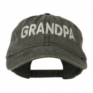 Wording of Grandpa Embroidered Washed Cap - Black