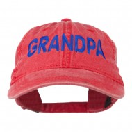 Wording of Grandpa Embroidered Washed Cap - Red