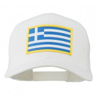 Greece Flag Patched Mesh Cap - White