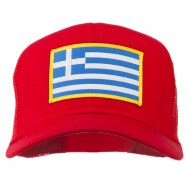Greece Flag Patched Mesh Cap - Red
