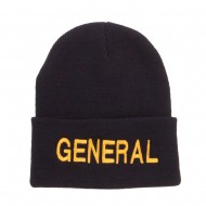US General Embroidered Long Beanie - Black