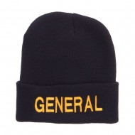 US General Embroidered Long Beanie - Navy