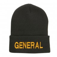 US General Embroidered Long Beanie - Dk Grey