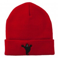 Halloween Spooky Ghost Embroidered Long Beanie - Red