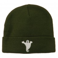 Halloween Spooky Ghost Embroidered Long Beanie - Olive