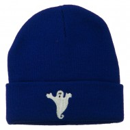 Halloween Spooky Ghost Embroidered Long Beanie - Royal