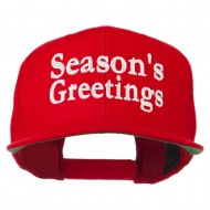 Seasons Greetings Embroidered Snapback Cap - Red