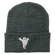 Halloween Spooky Ghost Embroidered Long Beanie - Grey