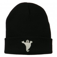 Halloween Spooky Ghost Embroidered Long Beanie - Black