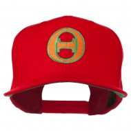 Greek Alphabet Theta Embroidered Flat Bill Cap - Red