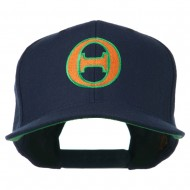 Greek Alphabet Theta Embroidered Flat Bill Cap - Navy