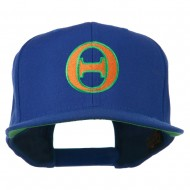 Greek Alphabet Theta Embroidered Flat Bill Cap - Royal