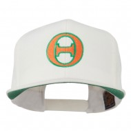 Greek Alphabet Theta Embroidered Flat Bill Cap - Natural