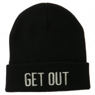 Get Out Embroidered Long Knit Beanie - Black