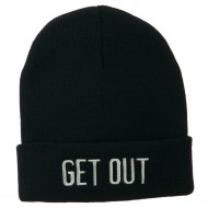 Get Out Embroidered Long Knit Beanie - Navy