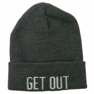 Get Out Embroidered Long Knit Beanie - Grey