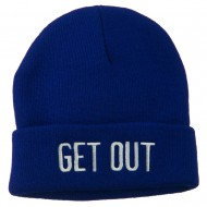 Get Out Embroidered Long Knit Beanie - Royal