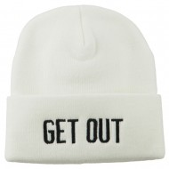Get Out Embroidered Long Knit Beanie - White