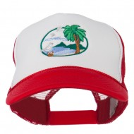 Fishing Beach Seagulls Embroidered Foam Mesh Back Cap - Red White Red