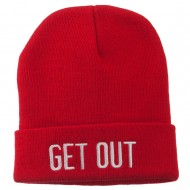 Get Out Embroidered Long Knit Beanie - Red