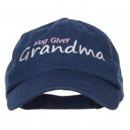 Hug Giver Grandma Embroidered Low Cap - Navy