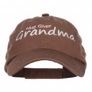 Hug Giver Grandma Embroidered Low Cap - Brown