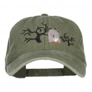 Graveyard Embroidered Washed Cap - Dk Green