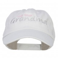 Hug Giver Grandma Embroidered Low Cap - White