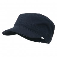 Garment Washed Distressed Military Cap - Navy