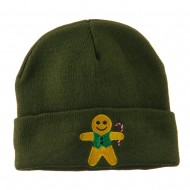 Gingerbread Man with Candy Cane Embroidered Beanie - Olive