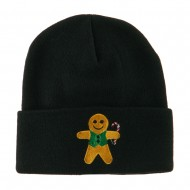 Gingerbread Man with Candy Cane Embroidered Beanie - Black