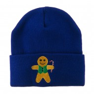Gingerbread Man with Candy Cane Embroidered Beanie - Royal